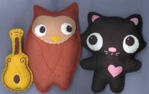 Owl and Pussycat playset by verukadolls