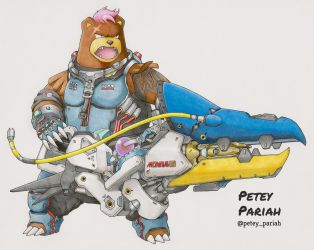 Pokemon X Overwatch: Ursaring X Zarya by PeteyPariah