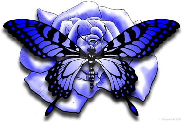 Blue Rose and Butterfly by JordanGreywolf