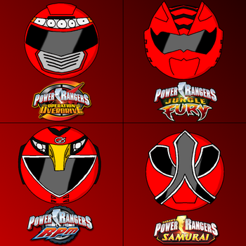 Power rangers helmets in my style part 4 (red) by Badrater