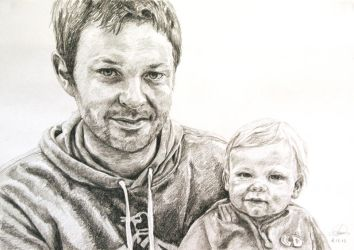 Portrait of Father and Child by AnnaGilhespy