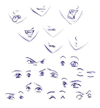 Mouth and eye studies by merrypaws