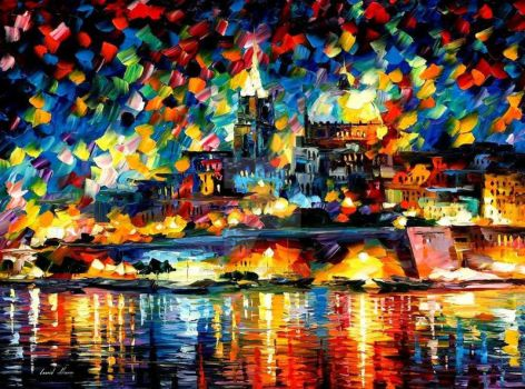The City Of Valetta, Malta by Leonid Afremov by Leonidafremov