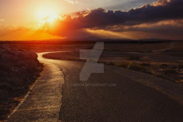 Sunset road by odpium