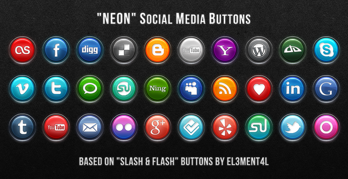 Neon Social Media Buttons by SimekOneLove