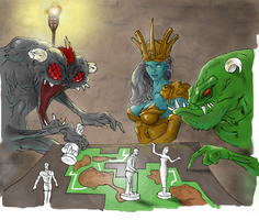 Meeples game drawing (colored) by electronicdave
