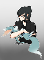 FF15 - Noctis and carbuncle by RikawawaArt