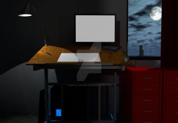 3d office desk website interface -never completed by mental-awareness