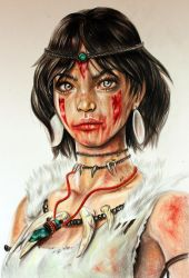 Color Pencil Art - Drawing of a Native American Ch by ZehraAkbulut