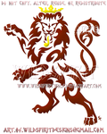 Luxembourg Rampant Lion Red Tribal Design by WildSpiritWolf