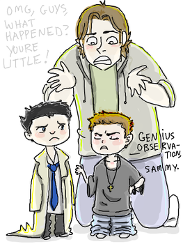 LITTLE DEAN AND CASTIEL by thehaydenclone
