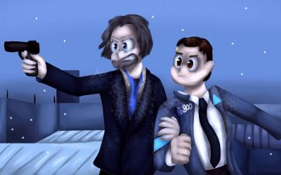 Screen shot redraw- Hank and Connor (+SP) by LordOfTheFeathers