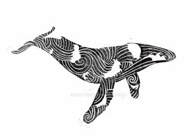 Linocut Wave Whale by MayVig