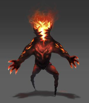 Fire monster commission by ZEBES