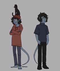 a boi and his cat by anoruk