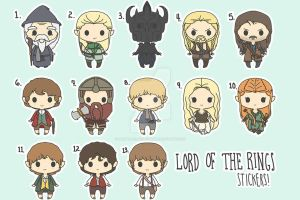 Chibi Lord of the Rings Stickers by HappyHelloDesign