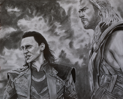 Thor and Loki, The Dark World by RuthPiinK