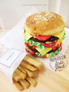 Double Cheeseburger Cake and Sugar Cookies Fries by StrawberryStory