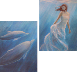 Girl and the dolphins III by Ansheen