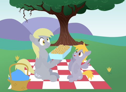 Derpy Muffien Picknick with her Little Brother by SigHoovestrong