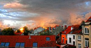 Falling sky over city by laventa