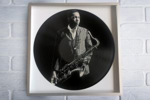 John Coltrane painted on vinyl record by vantidus
