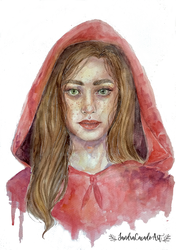 Little Red Riding Hood Watercolor by Fayland