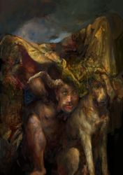 Clavicus Vile and Barbas cower from rain by IgorLevchenko