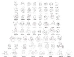 1-8 Robot Masters head sketch by SootToon