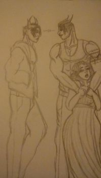marrik and daevas  doodle  by wintersrogue