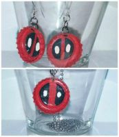 Deadpool Necklace and Earrings by wolf-girl87