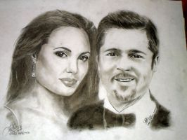 Angelina Jolie and Brad Pitt by margemagtoto