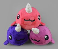 Purple/Pink Narwhal Plushies by SewDesuNe