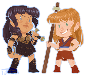 xena and gabrielle SQUISHY STICKERS by MrsDrPepper