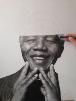 Nelson Mandela Hyperrealistic Pencil drawing stage by SamanthaMessias