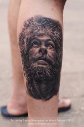 Photo-realistic Old Man Tattoo by Javagreeen