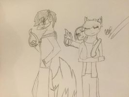 Two pyros and a cat by TheLivingPhenox