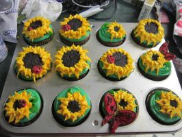 Sunflower Cupcakes by Angel-Of-Tricks