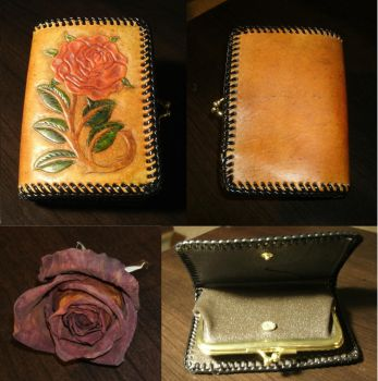 Leather Rose Clutch Purse by JN-Leather