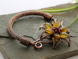 Yellow Lilly Bracelet - Copper by AbbyHook