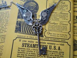 Steampunk winged key by Hiddendemon-666