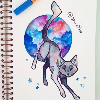 Galaxy cat - angular watercolor painting by ShinePawArt