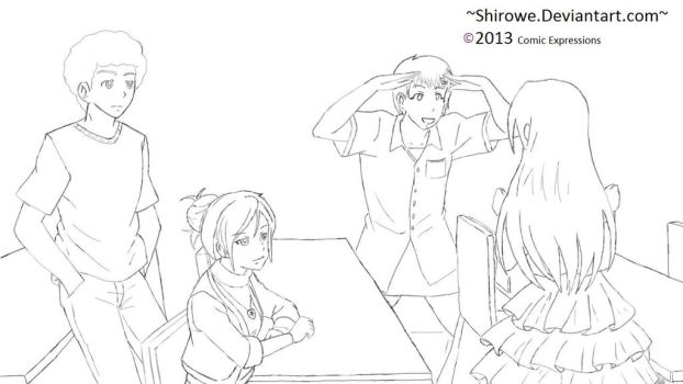 Hanging Out (Group) -Line Work- by Shirowe