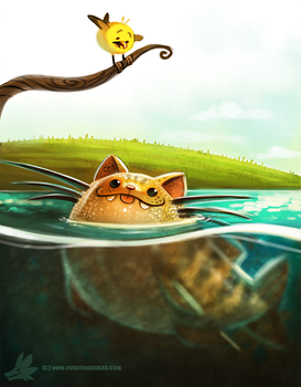 Daily Paint #989. Cat-fish (OA) by Cryptid-Creations