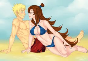 Naruto and Mei Terumi by LinART