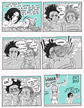 Star Wars Reylo Swimming Lesson1 by Nekokoro-chan