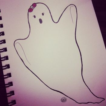 Inktober Monster Girl Challenge, Day 16: Ghost by bunnykissd
