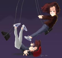 Girls playing on the swing by Torbak