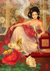 Woman with Peonies by theobsidian
