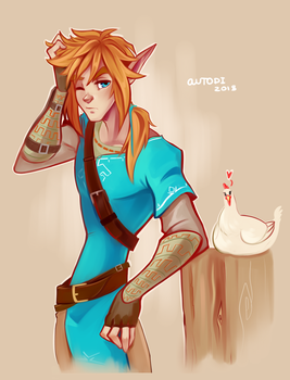 Sleepy Link and chicken by autodi